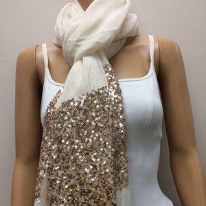 Anthropology Oblong Guaze Scarf with Sequins